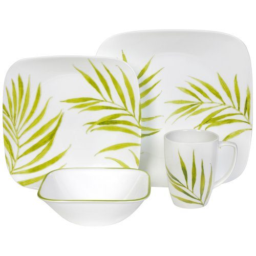Corelle Bamboo Leaf Square Round 16-Piece Dinnerware