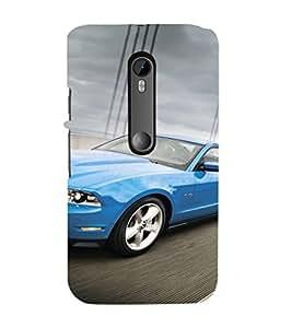 EPICCASE Blue Car Mobile Back Case Cover For Moto G 3rd Gen (Designer Case)