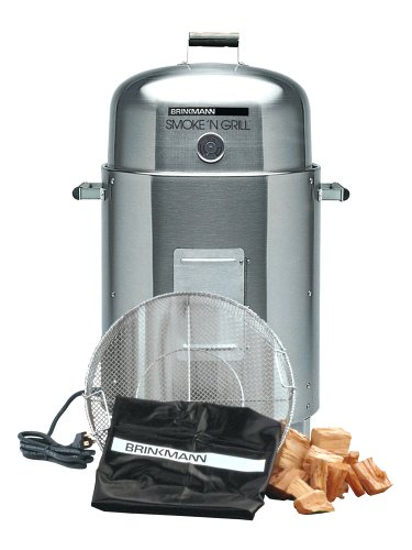 Brinkmann 810-5304-6 Smoke'N Grill Electric Smoker and Grill Value Pack, Stainless Steel