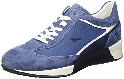 Harmont & Blaine Sneaker In Camoscio Scarpe Low-Top, Uomo, Blu (Azzurro/Bianco), 42