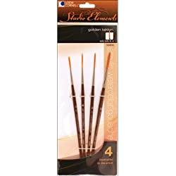 Loew-Cornell 1024910 Studio Elements Short Handle Golden Taklon Script Liner Brush Set, 4-Piece