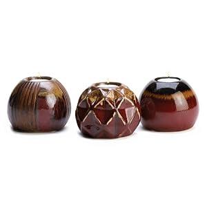 Three Hands Corp Natures Essence Ceramic Tealight Candle Holder Trio Set