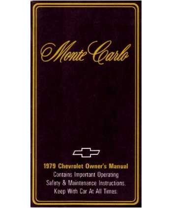 1979 CHEVROLET MONTE CARLO Owners Manual User Guide