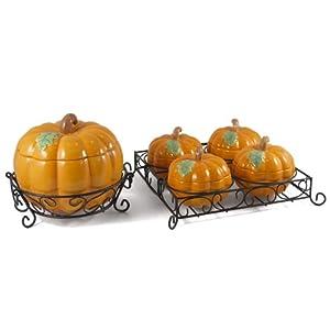 Ceramic Pumpkin Soup Tureen and Serving Bowl Set, 7 Pieces
