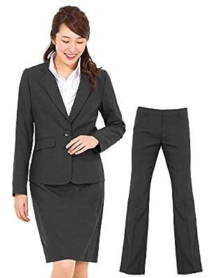 (アッドルージュ) スーツ レディース 3点セット タイトスカート パンツ ジャケット 洗える 洗濯 消臭抗菌【j5001】 1つボタン9号グレー