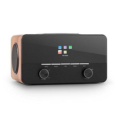 Connect 150 Design Wlan Radio Internet-Radio Wifi Radiowecker im Aluminium-Holz-Design (USB, Lan, Dab/DAB+, UKW, RDS, 2 Weckzeiten, Sleep-Timer, Fernbedienung, AUX, Holz-Finish) walnuss