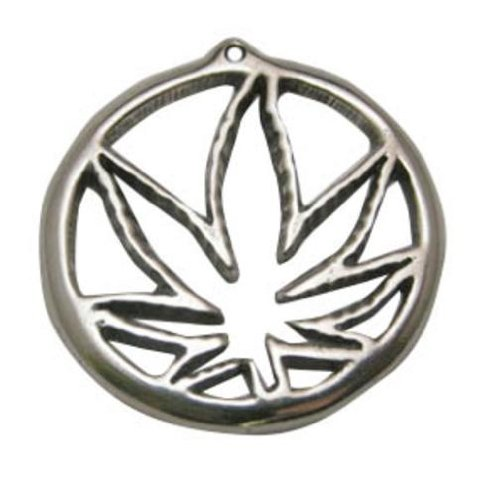 Safe Pewter Marijuana Leaf Charm