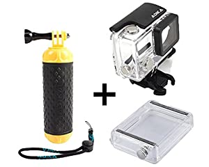 ADIKA® Water Sports set for GoPro Floating Handle Hand Grip Monopod + 40m Clear for GoPro Waterproof Case Housing Skeleton (For GoPro Hero 3/3+/4) + LCD Touch Backdoor Accessories Bundle Kit