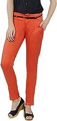 Fashion Stylus Women's Slim Trousers (FT-006_28, Orange, 28)