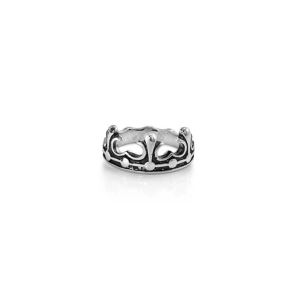 Stainless Steel 10mm Black Prince Crown Ring (Size 5   10)   Size 6