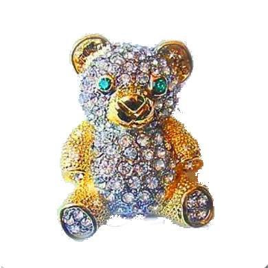 Swarovski Crystals (Diamond-like) 24K Gold Teddy Bear Pin Brooch Jewelry Oso ...