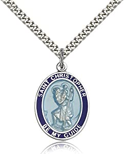 Sterling Silver Men's Patron Saint Medal of ST. CHRISTOPHER - Includes
