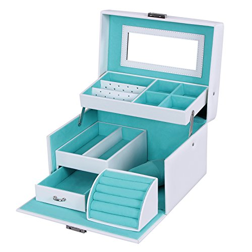 Songmics White Leather Jewelry Box Lockable Makeup Storage Case with Mirror UJBC114W