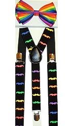 Unisex Rainbow Mustache Suspenders/bow Tie Set - Adjustable