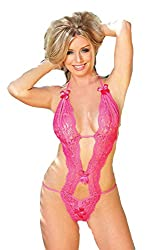 Lady Heart Womens Lace Black Self Design Babydoll Teddies Lingerie LH52PINK