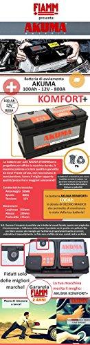 BATTERIA-AUTO-AKUMA-by-FIAMM-cod-L5100-KOMFORT-PLUS-100Ah-800A-Polo-Positivo-a-Destra