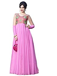 Net Gown Unstiched Dress Material (DV187-10004_Pink)