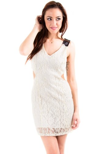 Belle Dee Jour Exposed Sides Laced Shell Dress in Ivory