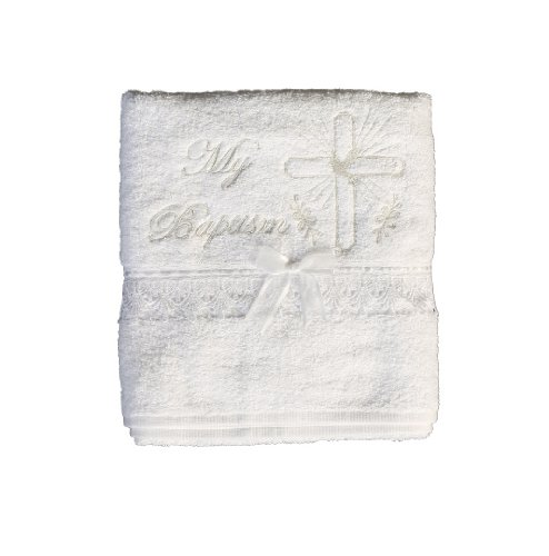 Christening Towel with Embroidered Cross and Lace Trim Baptism - English