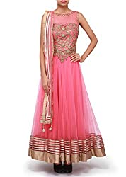SK Clothing Pink Color Raw Silk & Net Embroidered Semi_Stiched Dress For Women
