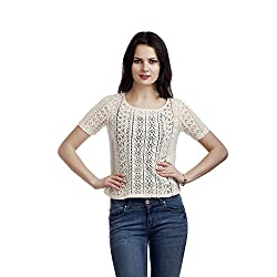 MansiCollections Casual Short Sleeve Solid Women's Beige Top (X-Small)
