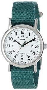 """Timex Women's T2N915 """"Weekender"""" Green Nylon Strap Watch"""