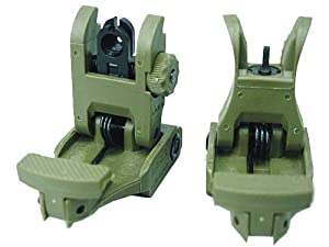 Airsoft Tactical #71L Style Polymer Flip-Up Front & Rear Sight Set OD