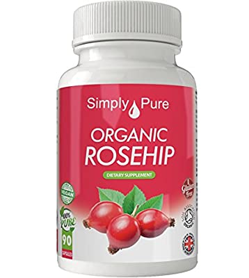 New - Exclusive to Amazon - Simply Pure - 90 Organic Rosehip Capsules - High Strength (500mg) Soil Association Certified - 100% Natural - Gluten Free - Vegan - Moneyback Guarantee