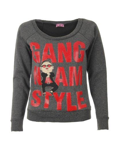 Fast Fashion Damen Gangnam Artdruck Lange Ärmel Sweatshirt (L = 40, Holzkohle)