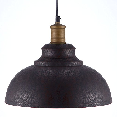 """BAYCHEER HL371892 Industrial Retro style Iron 11.8""""Wide Antique Rust Loft Metal Fixture Pendant Lights Lamps with 1 Light, Brown 0"""