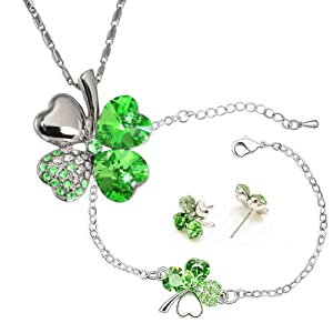 Four Leaf Clover Heart Shaped Swarovski Elements Crystal Pendant Necklace, Earrings and Bracelet Set - Green