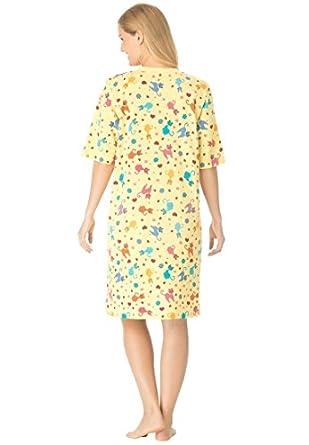 Dreams & Co Women's Plus Size Short Knit V-Neck Sleepshirt Banana Cats,M/L