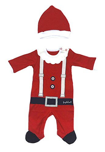 Baby Christmas Outfit Santa Suit Xmas Costume Onesie Bodysuit with Hat, 6-12M