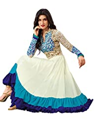 Shonaya White & Sky Blue Embroidered Georgette Anarkali Semi Stiched Salwar Suit(SA-VN-2122-A_White & Sky Blue)