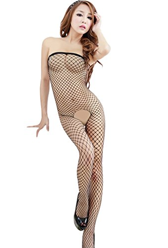 Angel Wings New Women Sexy Lingerie Fishnet Open Crotch Cights Nightwear Pink (black)