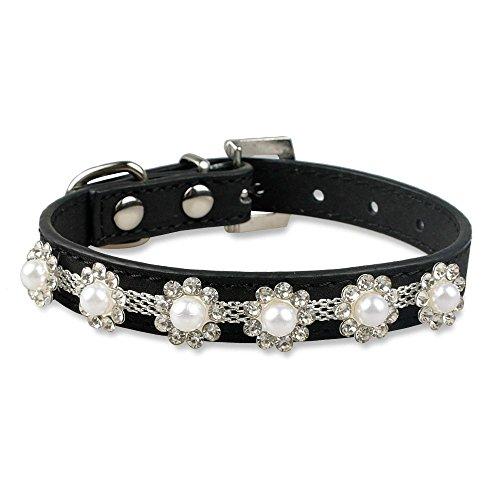 Valoxin(TM) Strass Collari in pelle del gatto Collana di perle Fiore Studded Diamante fibbia