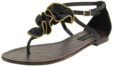 Fahrenheit Women's Dora-06 Thong Sandal,Black Denim,6 M US