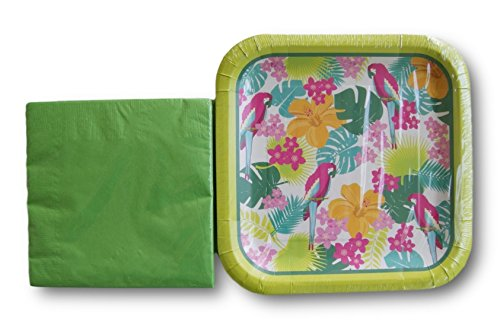 Tropical Spring Parrots Party Supply Kit - Napkins and Plates (Parrot Party Supplies compare prices)