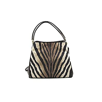 Coach Madison Small Phoebe Shoulder Bag In Zebra Print Fabric 103