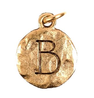 "Chelsea Hill Charm, ""Beta"" Sorority Symbol Letter ""B"" Gold-Tone Over Hammered Pewter Charm"