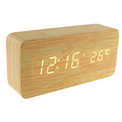 RCLITE Modern Rectangular LED Alarm Clock Home Office Decor Wooden Digital Desk Clock with Time Temperature Thermometer Display Voice and Sound Control Shelf Clock Table Clock