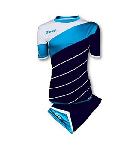 Kit Zeus Lybra Uomo Blu-Light Royal-Bianco Completino Completo Calcio Calcetto Torneo Scuola Sport Training Volley Pegashop (L)
