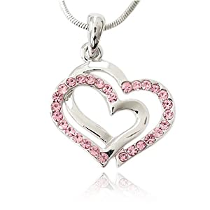 Pink Crystal Double Heart Charm Pendant Necklace Fashion Jewelry