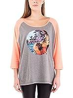 Nike Hurley Camiseta Manga Larga Ying Yang Slouchy Paradise (Gris / Rosa)