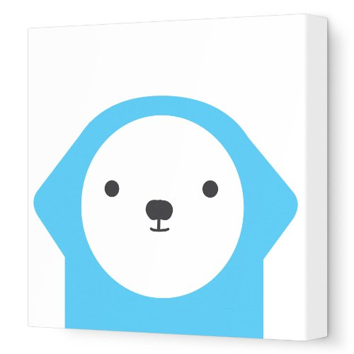 "Avalisa Stretched Canvas Nursery Wall Art, Dog Friend, Blue, 12"" x 12"""