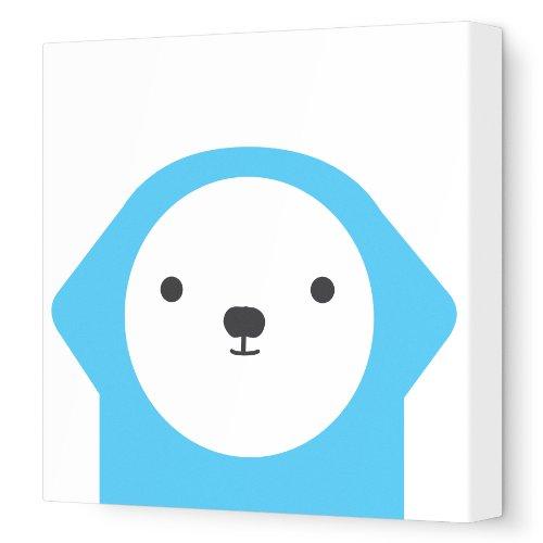 "Avalisa Stretched Canvas Nursery Wall Art, Dog Friend, Blue, 12"" x 12"""
