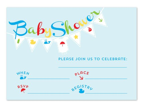 Blue Baby Banner Fill-In Invitations front-106813