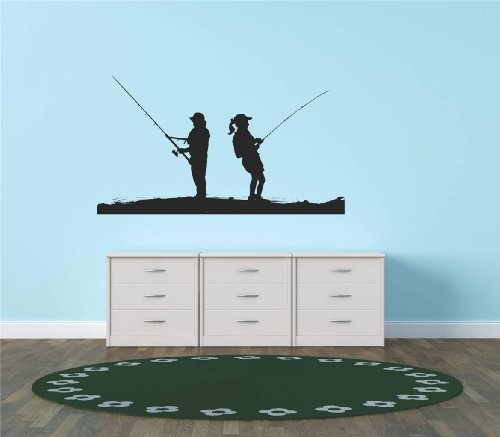 Decal - Vinyl Wall Sticker : Fishing Pole Fish Fishermen Fisherman Water Boat Living Room Bedroom Kitchen Home Decor Picture Art Image Peel & Stick Graphic Mural Design Decoration - Size : 10 Inches X 18 Inches - 22 Colors Available (Fishing Wall Decals compare prices)