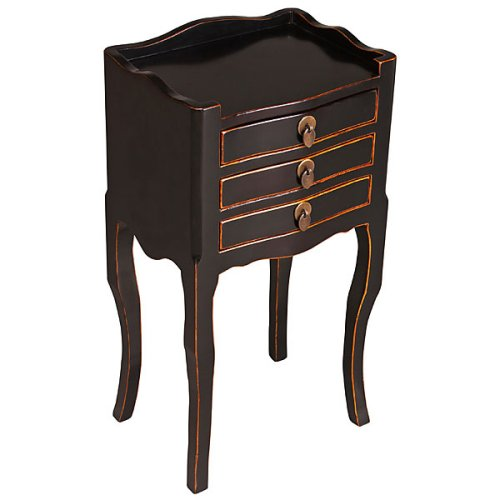 Cheap EXP Handmade Asian furniture-27″ Elegant Antique Style Black Wood Cabriole Leg End Table – 3-Drawer (B000LN5STY)