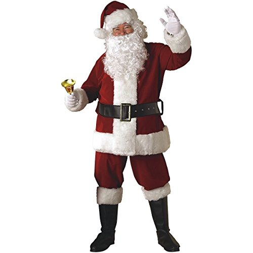 [GSG Santa Suit Deluxe Adult Christmas Costume for Men Fancy Dress] (Super Deluxe Vampires Vixen Sexy Costumes)
